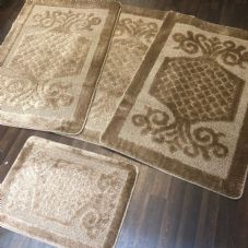 ROMANY WASHABLES GYPSY MATS 4PC SETS NON SLIP SWIRL DESIGN BEIGE QUALITY RUGS